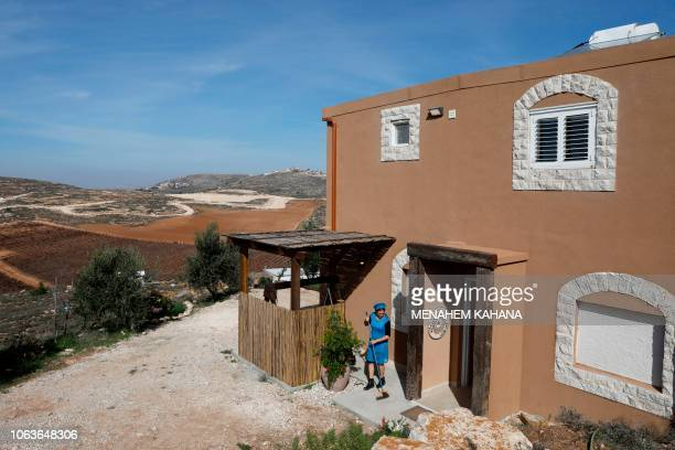 Moria Shapira Airbnb's apartment owner cleans her apartment in Adei Ad outpost north of the Palestinian village of alMughayyir near the occupied West...