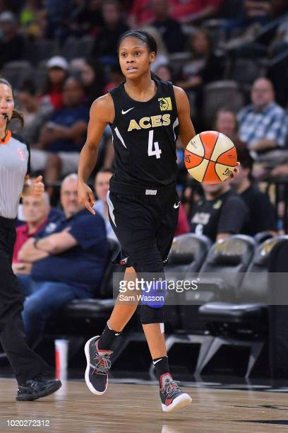 Moriah Jefferson of the Las Vegas Aces brings the ball up the court against the New York Liberty during their game at the Mandalay Bay Events Center...