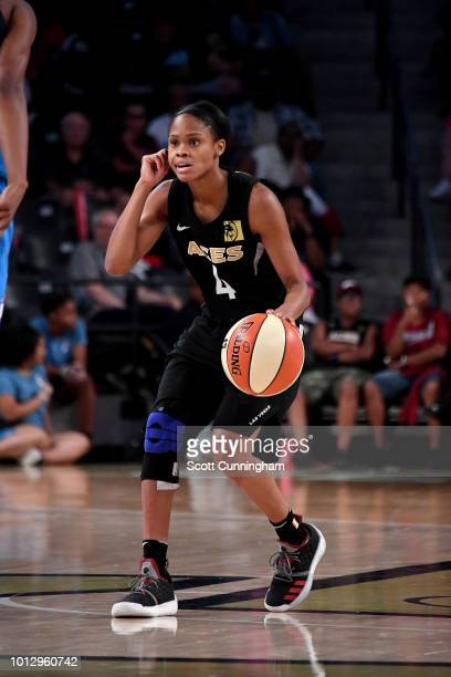Moriah Jefferson of the Las Vegas Aces handles the ball during the game against the Atlanta Dream on August 07 2018 at McCamish Pavilion in Atlanta...