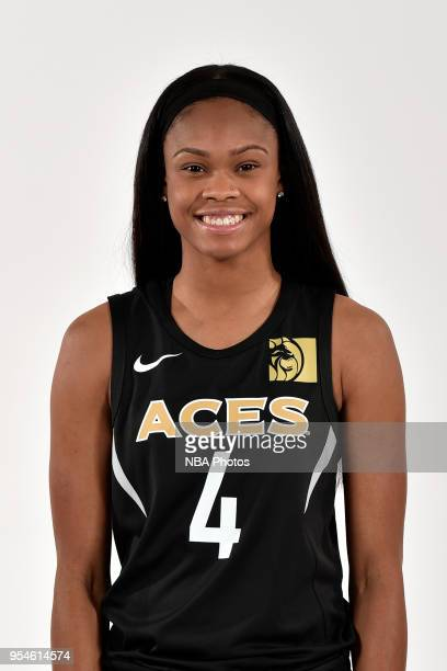 Moriah Jefferson of the Las Vegas Aces poses for a head shot at WNBA Media Day at MGM Grand Garden Arena on May 3 2018 in Las Vegas Nevada NOTE TO...