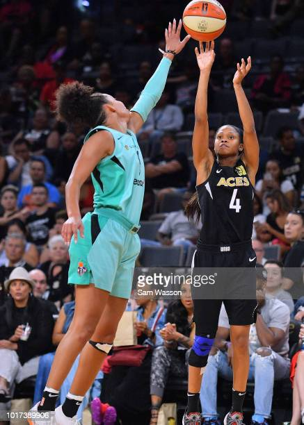 Moriah Jefferson of the Las Vegas Aces shoots against Bria Hartley of the New York Liberty during their game at the Mandalay Bay Events Center on...
