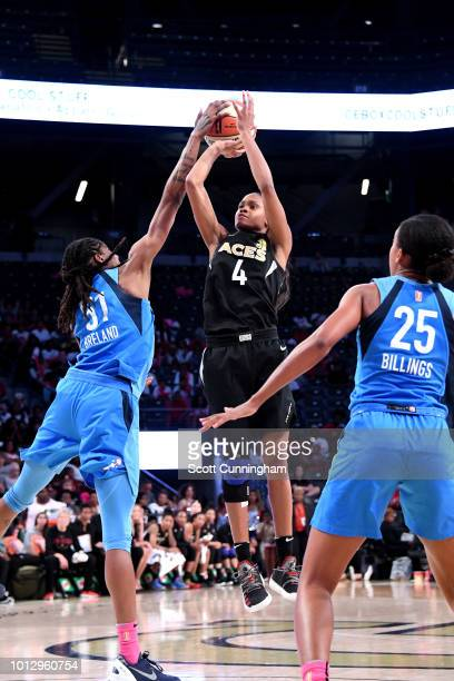 Moriah Jefferson of the Las Vegas Aces shoots the ball during the game against the Atlanta Dream on August 07 2018 at McCamish Pavilion in Atlanta...