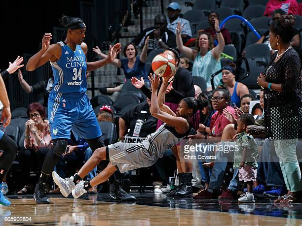 Moriah Jefferson of the San Antonio Stars against Sylvia Fowles of the Minnesota Lynx on September 11 2016 at ATT Center in San Antonio Texas NOTE TO...