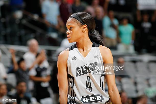 Moriah Jefferson of the San Antonio Stars looks on during the game against the Seattle Storm on June 14 2016 at ATT Center in San Antonio Texas NOTE...