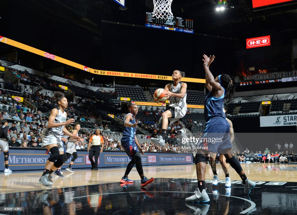 Moriah Jefferson #4 of the San Antonio Stars shoots a lay up against the Atlanta Dream on August 12, 2017 at the AT&T Center in San Antonio, Texas.