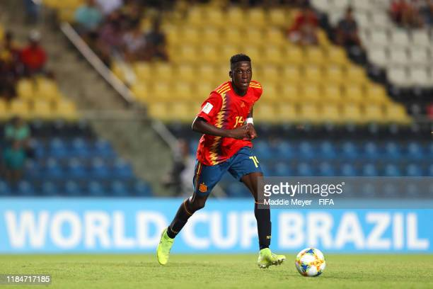 Moriba Ilaix of Spain dribbles during the FIFA U17 World Cup Brazil 2019 group E match between Spain and Tajikistan at Estádio Kléber Andrade on...