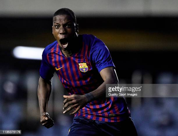 Moriba Kourouma Kourouma of FC Barcelona U19 celebrating his goal during the UEFA Youth League round of 16 round 2 at Mini Estadi on March 12, 2019...