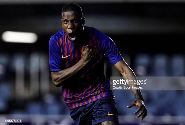 Moriba Kourouma Kourouma of FC Barcelona U19 celebrating his goal during the UEFA Youth League round of 16 round 2 at Mini Estadi on March 12 2019 in...