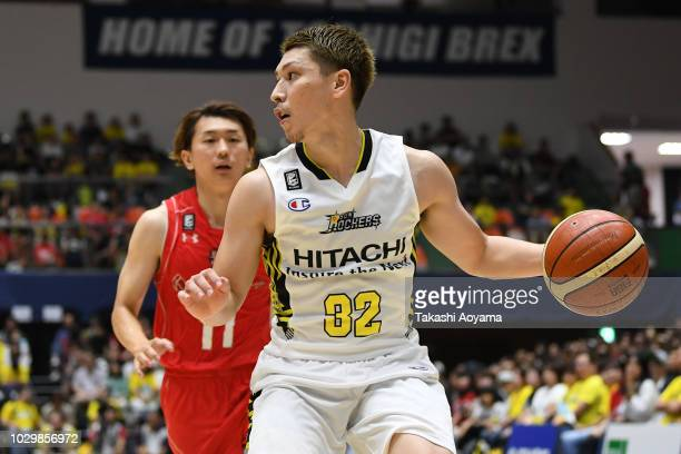 Morihisa Yamauchi of the Sun Rockers Shibuya handles the ball during the B.League Early Cup Kanto 3rd Place Game between Chiba Jets and Sun Rockers...