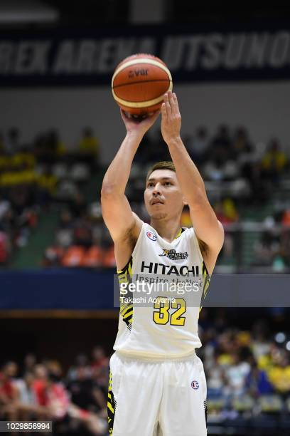 Morihisa Yamauchi of the Sun Rockers Shibuya shoots a free throw during the B.League Early Cup Kanto 3rd Place Game between Chiba Jets and Sun...