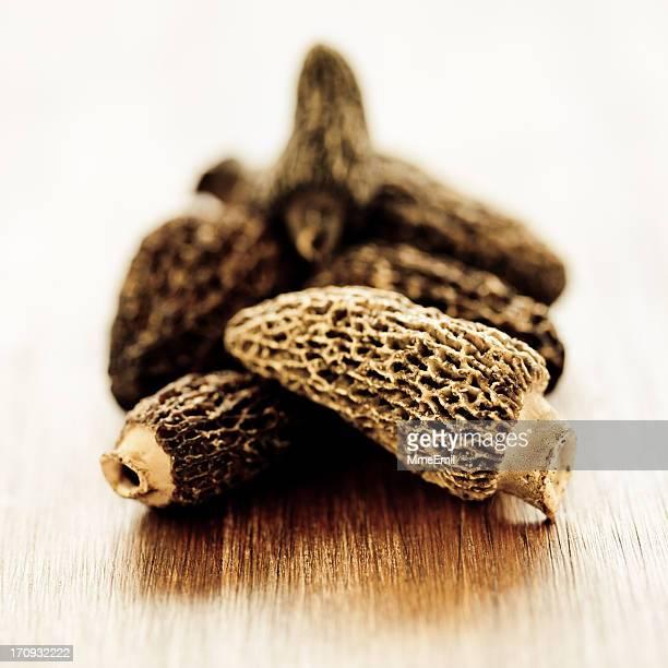 morilles or morel mushrooms - morel mushroom stock pictures, royalty-free photos & images