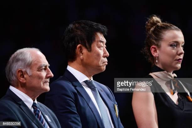 Morinari Watanabe president of the International Gymnastics Federation during the FIG World Cup Challenge 'Internationaux de France' at AccorHotels...