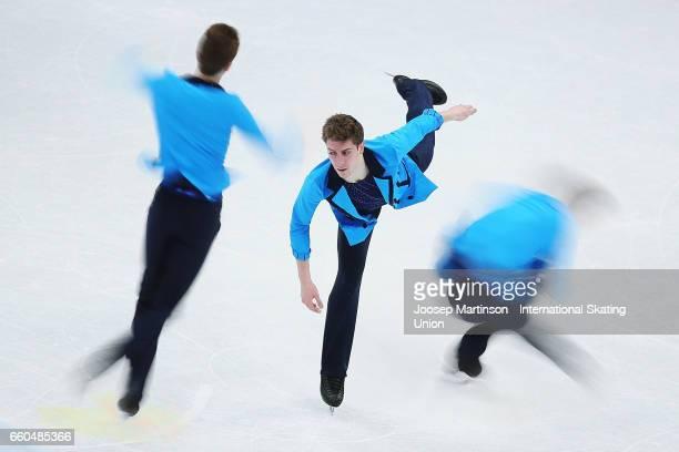 Moris Kvitelashvili of Georgia competes in the Men's Short Program during day two of the World Figure Skating Championships at Hartwall Arena on...