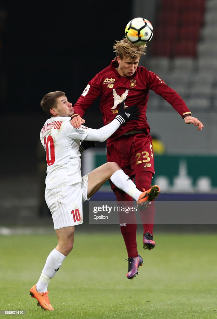 Moritz Bauer (?) of FC Rubin Kazan vies for the ball with Vladislav Nikiforov SKA Khabarovsk during the Russian Premier League match between FC Rubin Kazan and SKA Khabarovsk at Kazan Arena stadium on December 9, 2017 in Kazan, Russia.
