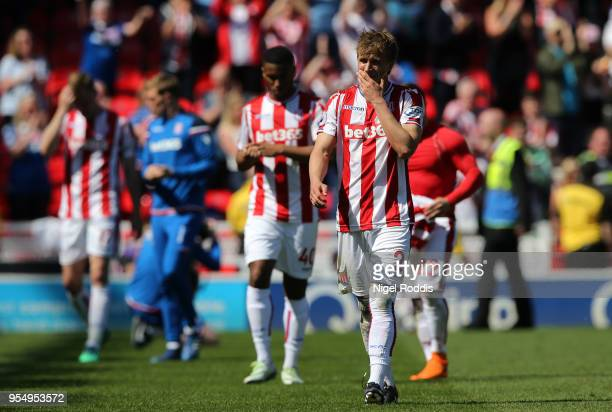 Moritz Bauer of Stoke City reacts at the full time whistle after the Premier League match between Stoke City and Crystal Palace at Bet365 Stadium on...