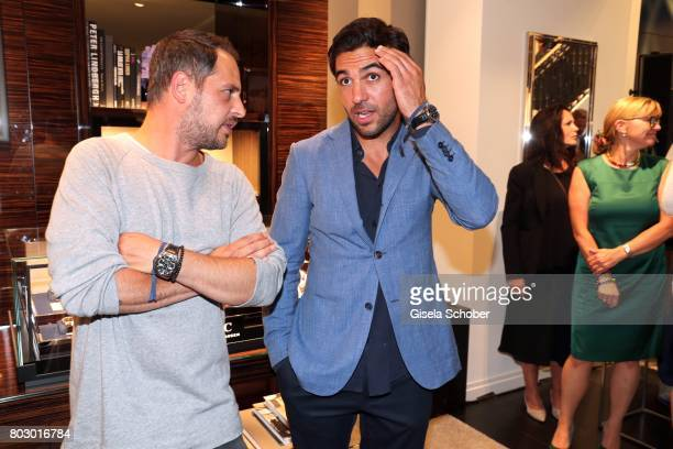 Moritz Bleibtreu and Elyas M'Barek attend the exclusive grand opening event of the new IWC Schaffhausen Boutique in Munich on June 28 2017 in Munich...