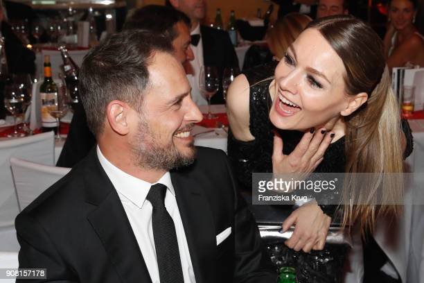 Moritz Bleibtreu and Martina Hill during the German Film Ball 2018 at Hotel Bayerischer Hof on January 20 2018 in Munich Germany