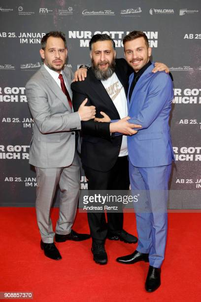 Moritz Bleibtreu Kida Khodr Ramadan and Edin Hasanovic attend the 'Nur Gott kann mich richten' premiere at CineStar Metropolis on January 22 2018 in...