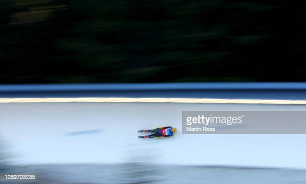 Moritz Elias Bollmann of Germany competes in the 1st run during the men's single in the FIL Luge World Cup at ENSO-Eiskanal on December 06, 2020 in...