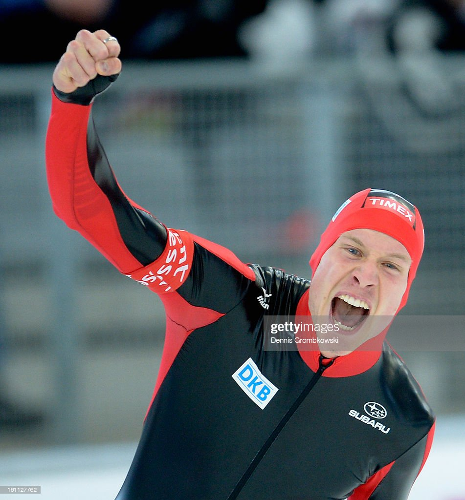 Moritz Geisreiter of Germany celebrates after the the Men's 5000m Division A race during day one of the ISU Speed Skating World Cup at Max Eicher Arena on February 9, 2013 in Inzell, Germany.