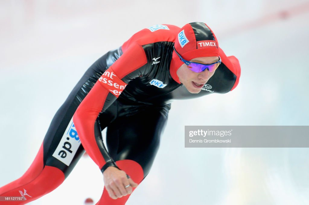 Moritz Geisreiter of Germany competes in the Men's 5000m Division A race during day one of the ISU Speed Skating World Cup at Max Eicher Arena on February 9, 2013 in Inzell, Germany.