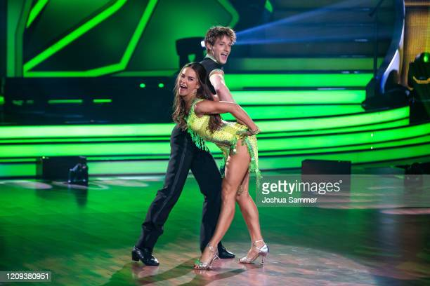 """Moritz Hans and Renata Lusin perform on stage during the 1st show of the 13th season of the television competition """"Let's Dance"""" on February 28, 2020..."""