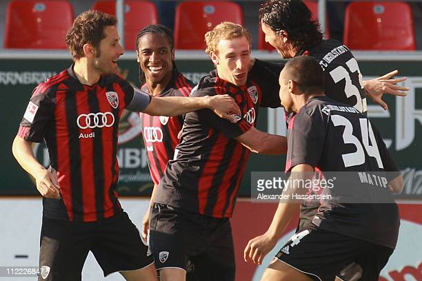 Moritz Hartmann of Ingolstadt celebrates scoring the opening goal with his team mates during the Second Bundesliga match between FC Ingolstadt and...