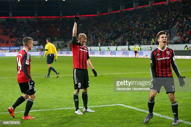 Moritz Hartmann of Ingolstadt celebrates scoring the second team goal with his team mates Alfredo Morales and Stefan Lex during the Bundesliga match...