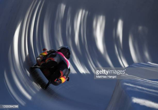 Moritz Jaeger and Valentin Steudte of Germany compete in Men's Doubles Competition second run in luge during day 8 of the Lausanne 2020 Winter Youth...