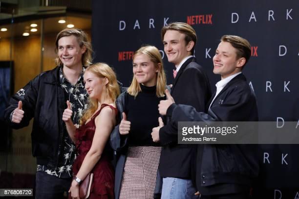 Moritz Jahn Gina Alice Stiebitz Nele Trebs Ludger Boekelmann and Paul Lux attends the premiere of the first German Netflix series 'Dark' at Zoo...