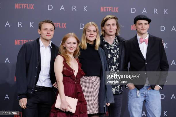 Moritz Jahn Gina Alice Stiebitz Nele Trebs Ludger Boekelmann and Paul Lux attends the premiere of the first German Netflix series 'Dark' at Zoo...