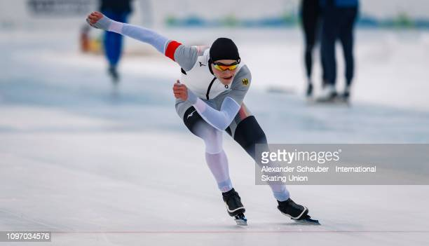Moritz Klein of Germany competes in the Mens 500m sprint race during the ISU Junior World Cup Speed Skating Final Day 2 on February 9 2019 in Trento...