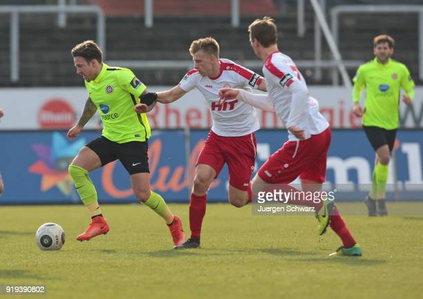 Moritz Kuhn of Wiesbaden and Nico Brandenburger of Cologne fight for the ball during the 3 Liga match between SC Fortuna Koeln and SV Wehen Wiesbaden...