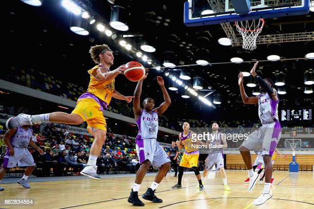 Moritz Lanegger makes a pass during a British Basketball League match between London Lions and Leeds Force at the Copper Box Arena on October 15 2017...