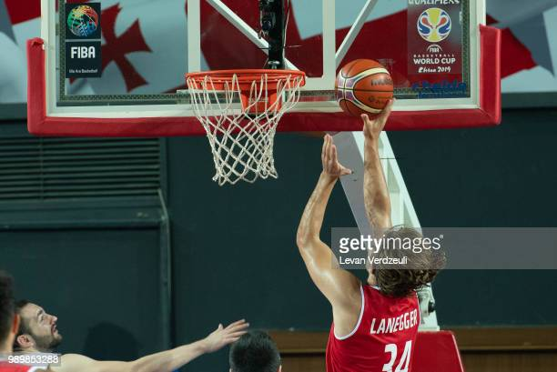 Moritz Lanegger of Austria shoots the ball during the FIBA Basketball World Cup Qualifier match between Georgia and Austria at Tbilisi Sports Palace...