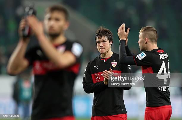 Moritz Leitner Gotoku Sakai and Alexandru Maxim of Stuttgart applaud the fans after the Bundesliga match between VfL Wolfsburg and VfB Stuttgart at...