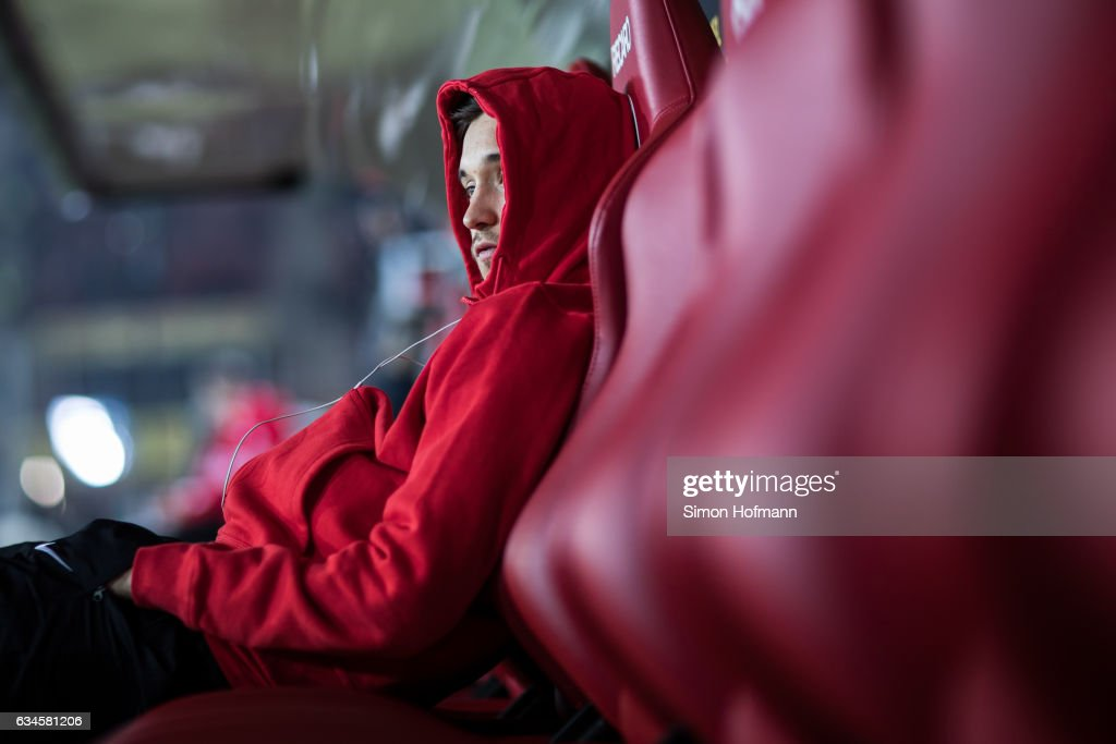 Moritz Leitner of Augsburg looks on prior to the Bundesliga match between 1. FSV Mainz 05 and FC Augsburg at Opel Arena on February 10, 2017 in Mainz, Germany.