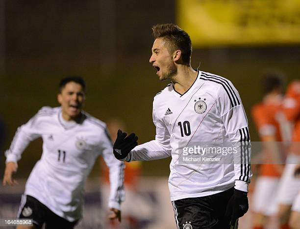 Moritz Leitner of Germany celebrates his goal during the international friendly match between U20 Switzerland and U20 Germany at Eps Stadium on March...