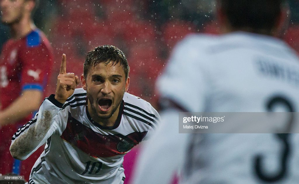Moritz Leitner (L) of Germany celebrates his goal with his team-mate Christian Guenter during the international friendly match between U21 Czech Republic and U21 Germany on November 18, 2014 in Prague, Czech Republic.