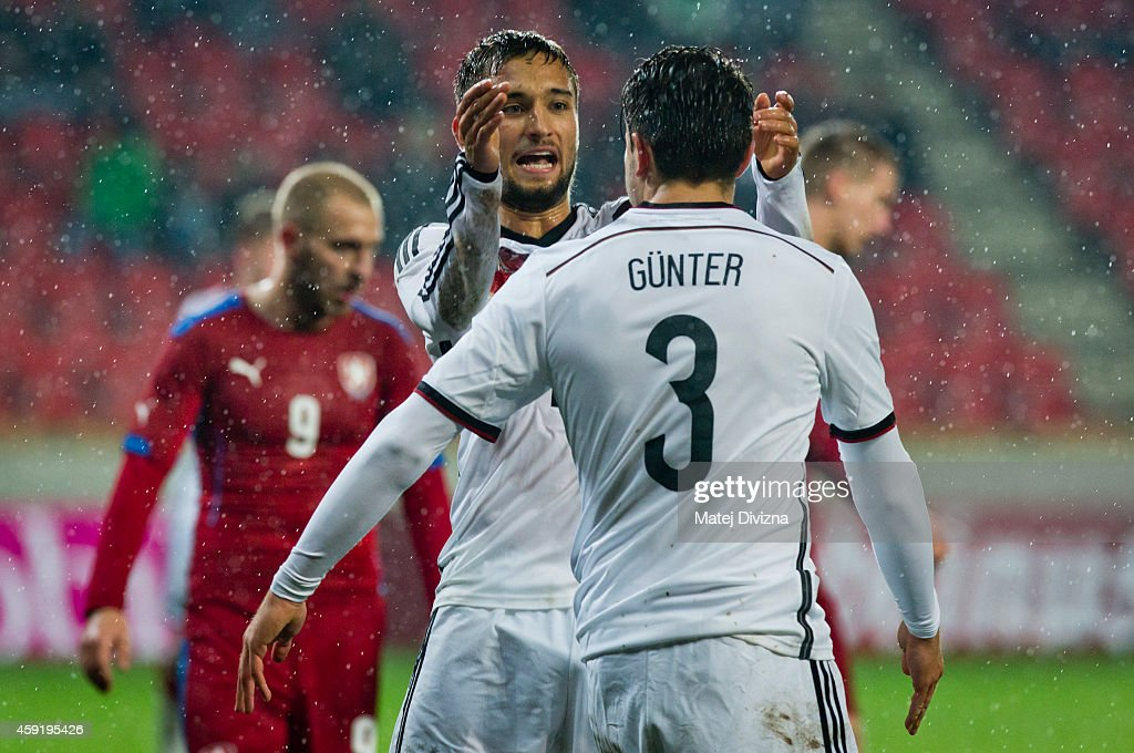 Moritz Leitner (L) of Germany celebrates his goal with teammate Christian Guenter during the international friendly match between U21 Czech Republic and U21 Germany on November 18, 2014 in Prague, Czech Republic.