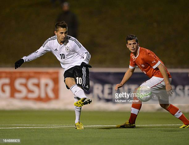 Moritz Leitner of Germany scores the third goal against past Remo Freuler of Switzerland during the international friendly match between U20...