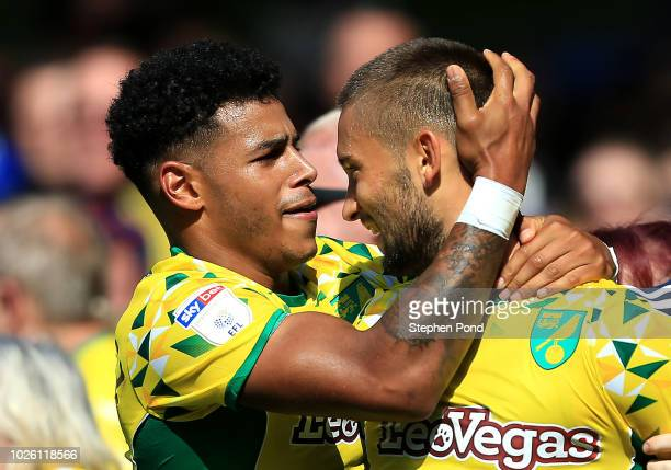 Moritz Leitner of Norwich City celebrates after scoring his team's first goal with team mates during the Sky Bet Championship match between Ipswich...