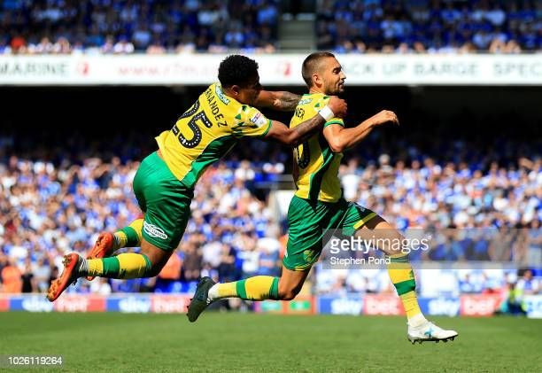Moritz Leitner of Norwich City celebrates after scoring his team's first goal with team mate Onel Hernández of Norwich City during the Sky Bet...