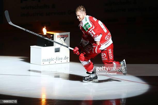 Moritz Mueller of Koelner Haie enters the ice rink during the DEL PlayOff first final match between Koelner Haie and Eisbaeren Berlin at Lanxess...