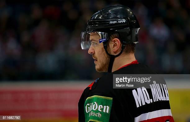 Moritz Mueller of Koelner Haie looks on during the DEL Ice Hockey match between Koelner Haie and Hamburg Freezers at Lanxess Arena on February 19...
