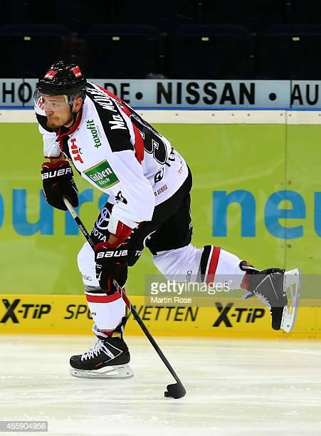 Moritz Mueller of Koelner Haie skates against the Hamburg Freezers during the DEL game between Hamburg Freezers and Koelner Haie at O2 World on...