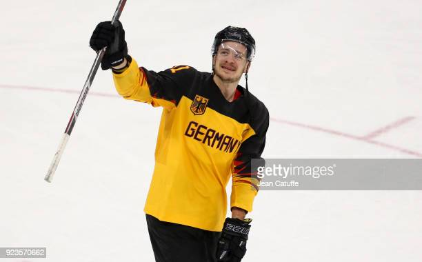 Moritz Muller of Germany celebrates after victory in Men's Semifinal ice hockey match between Canada and Germany on day fourteen of the 2018 Winter...