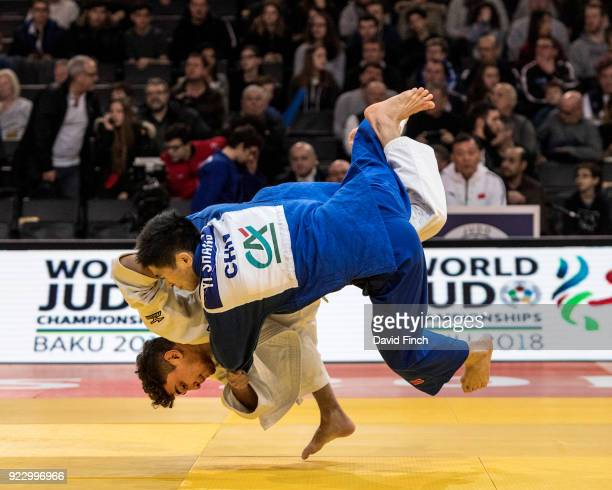 Moritz Plafky of Germany throws Yi Shang of China for an ippon to win their u60kg contest in extra time during the 2018 Paris Grand Slam at the...