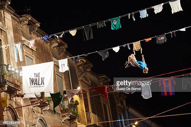 Moritz Purer of Austria at the Red Bull Airlines and THE WALK Movie Freestyle Slackline Competition above the balconies in Catania Sicily #TheWalk...
