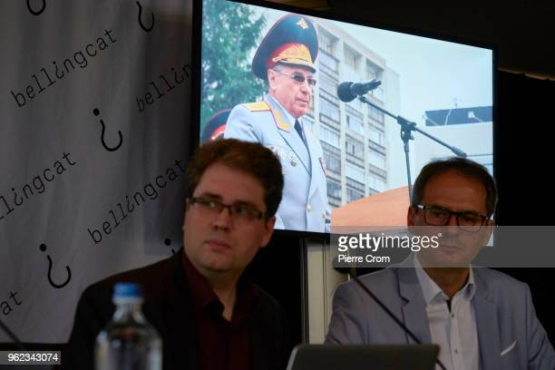 Moritz Rakuszitzky and Eliot Higgins from the citizen journalist's organisation Bellingcat name Russian officer Oleg Ivannikov as a suspect during a...